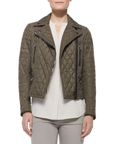 Classic Quilted Side-Belt Moto Jacket