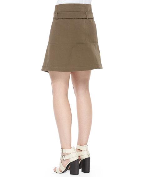 Belstaff Gabardine Belted A-Line Wrap Skirt
