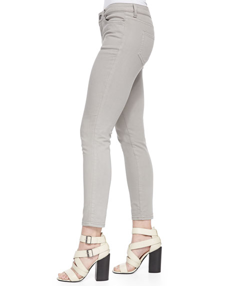 Zip-Pocket Skinny Jeans, Gray