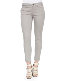 Zip-Pocket Skinny Jeans, Gray