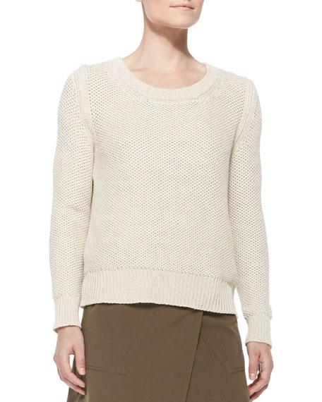 Belstaff Shaker-Knit Cotton Sweater, Open Off White