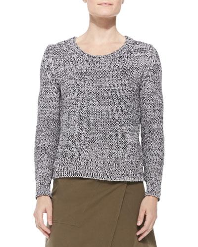 Shaker-Knit Cotton Sweater, White/Black Marl