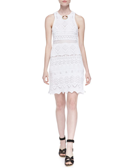 Roberto Cavalli Crochet Knit Embellished-Neck Dress, White
