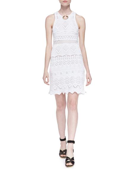 Roberto Cavalli Crochet Knit Embellished-Neck Dress, White