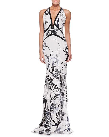 Tropical Floral-Print Gown, White/Black