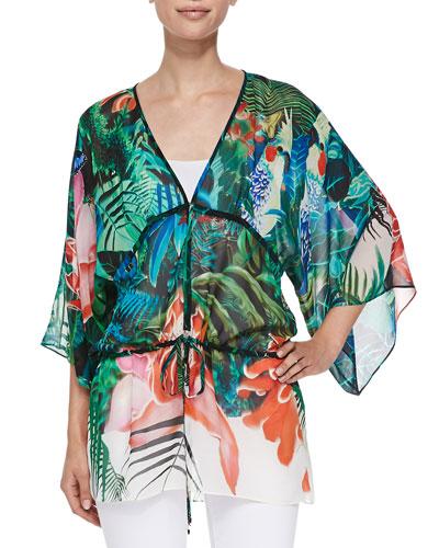 Mustique-Print Tie-Waist Kimono Top