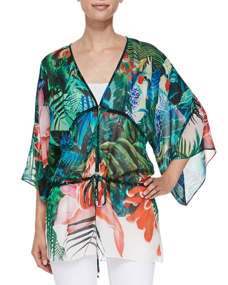Roberto Cavalli Mustique-Print Tie-Waist Kimono Top