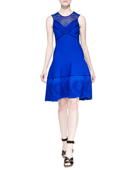 Roberto Cavalli Mesh-Inset Embroidered Scuba-Knit Dress, Blue
