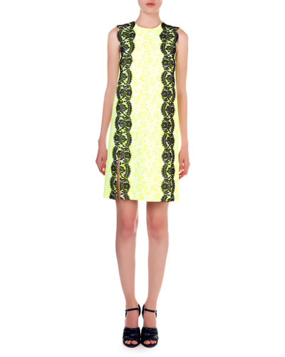 Floral-Print Lace-Trim Sheath Dress, Yellow