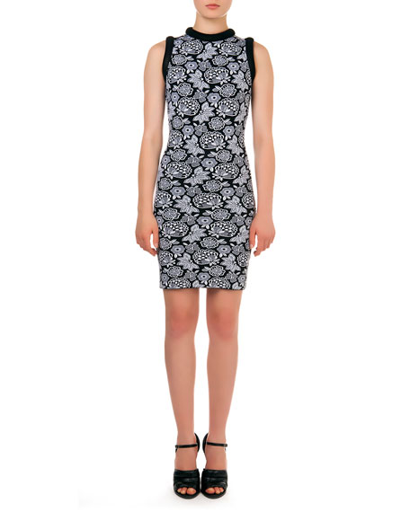 Sleeveless Floral-Pattern Intarsia Sheath Dress