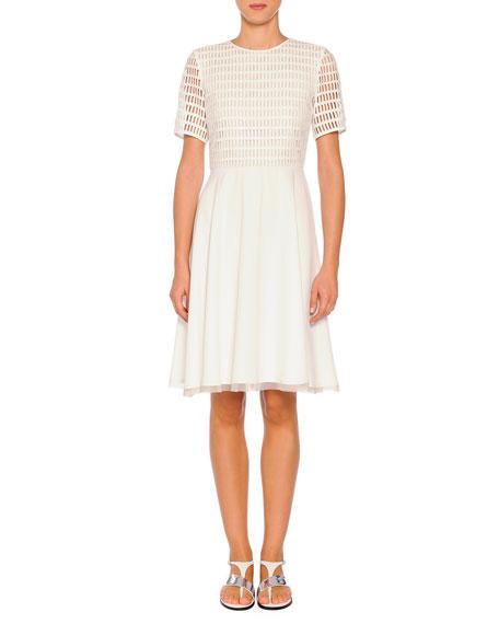 Grid Macrame Organza-Trimmed Dress, White