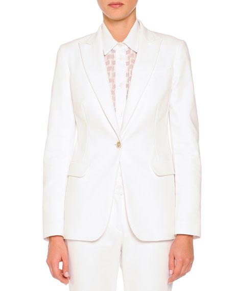 Piazza Sempione Techno Cotton Single-Button Blazer, White