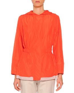 Hooded Painted Trimmed Anorak, Orange