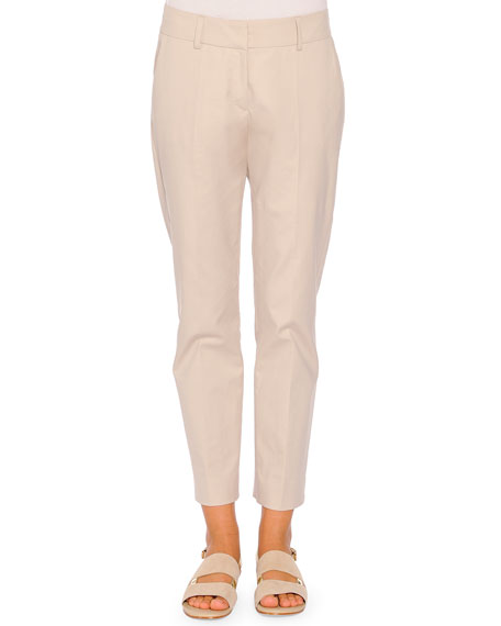 Piazza Sempione Kim Polished Poplin Ankle Pants, Ice