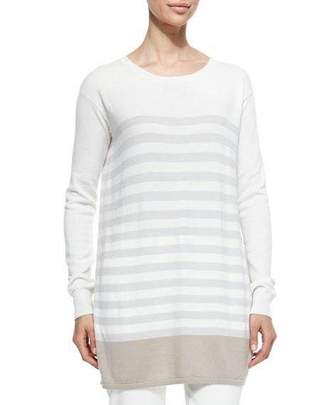 Loro Piana Cashmere Knit Colorblock Striped Tunic, Crystal