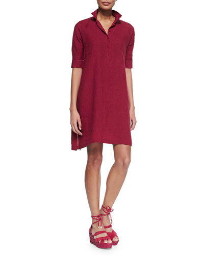 Lucy 3/4-Sleeve Linen Shirtdress, Ribes Delave