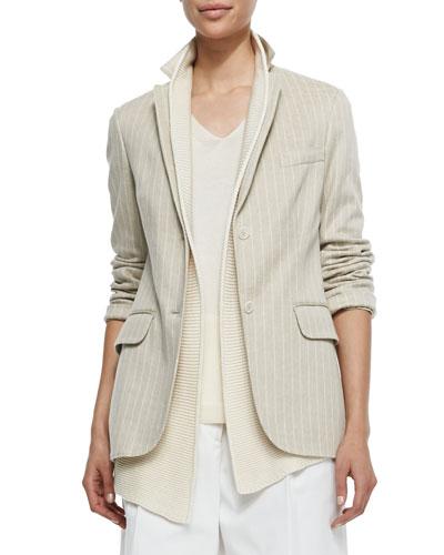 Deneu Linen-Blend Pinstriped Jacket, Straw/White