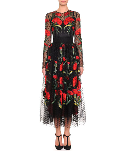 Dolce & Gabbana Long-Sleeve Point d'Esprit Carnation Dress, Black