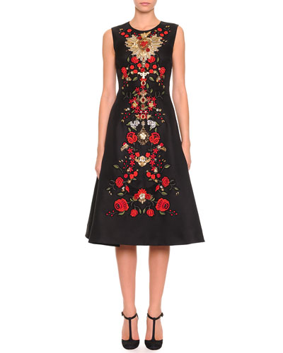 Dolce & Gabbana Sleeveless Floral-Embroidered Dress, Black