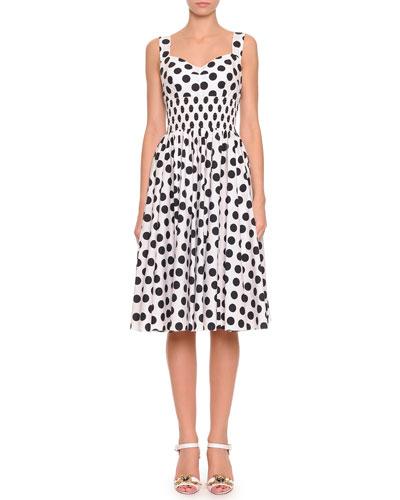 Dolce & Gabbana Polka Dot Dress with Smocked Waist, White/Black