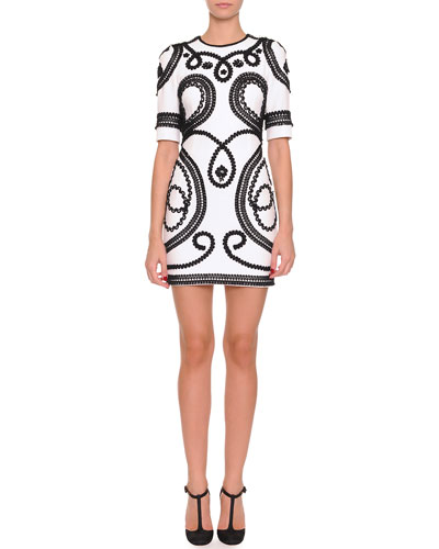 Dolce & Gabbana Short Scroll-Embroidered Dress, White/Black