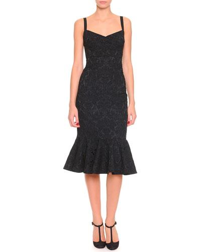 Dolce & Gabbana Stretch Jacquard Flounce Dress, Black