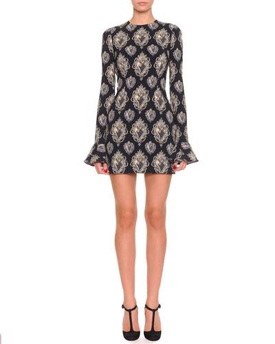 Dolce & Gabbana Heart-Print Long-Sleeve Flounce-Cuff Dress, Black