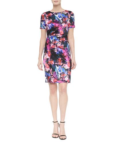 Mini Floralscape-Print Tuck-Pleated Dress, Caviar Multi