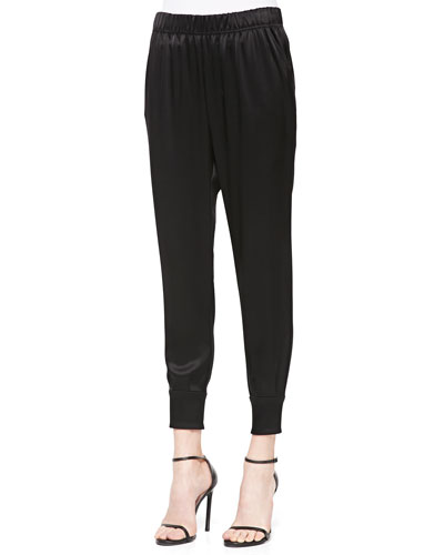 Liquid Satin Top-Pleated Cropped Pants, Caviar