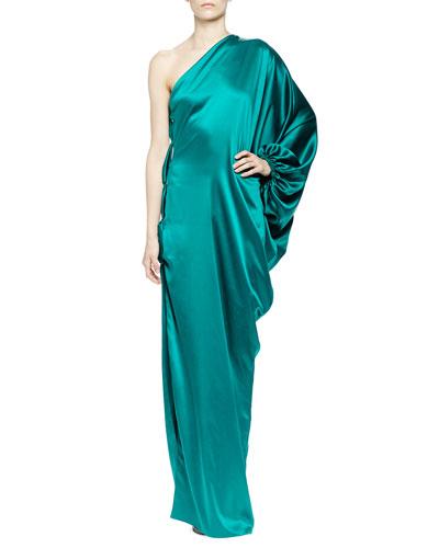 Lanvin One-Shoulder Silk Satin Gown