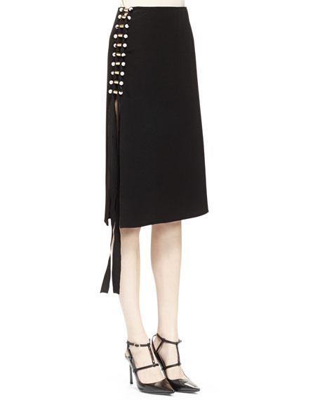 Lanvin Pearly Pierced Midi Skirt