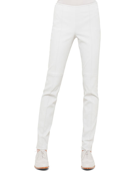 Akris Napa Stretch-Leather Slim Pants, Silver