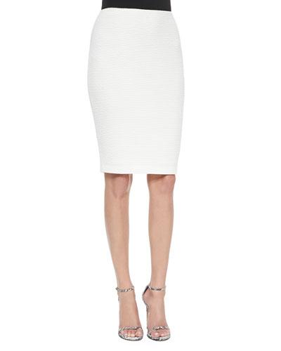 Punto Riso Knit Pencil Skirt, Cream