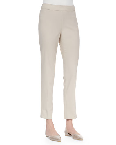 Emma Tropical Wool Ankle Pants, Khaki