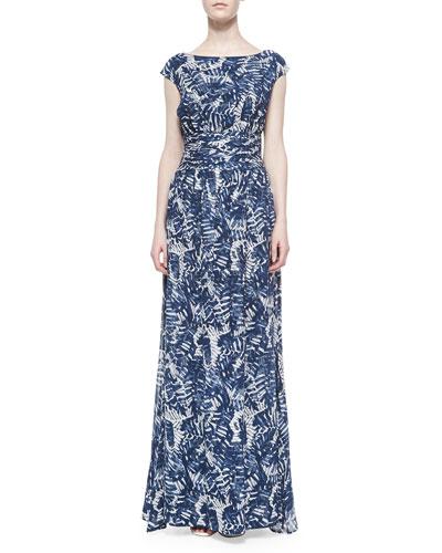 Large Scale Graphic Palm Print Long Dress, Cream/Marine
