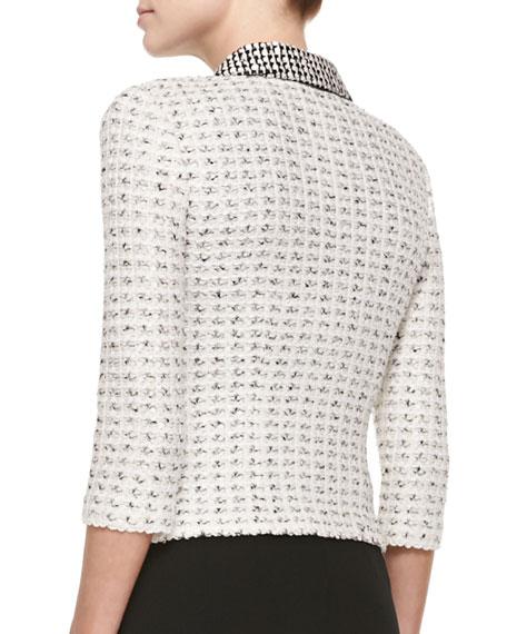 Salt & Pepper Tweed Knit 3/4-Sleeve Jacket