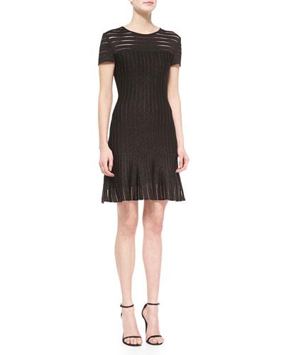 Transparent Shimmer-Stripe Knit Dress