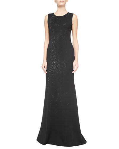 Milano Knit Leopard-Print Sequined Gown, Caviar