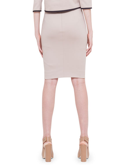 Contrast Waistband Techno Cotton Pencil Skirt