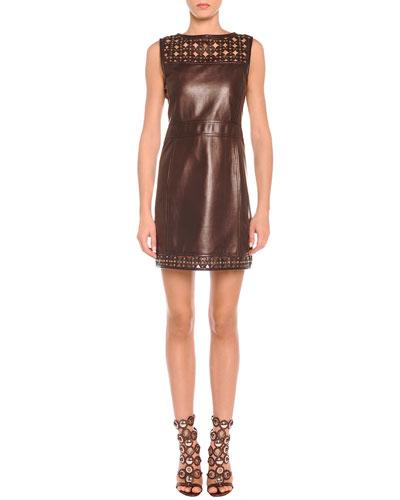 Emilio Pucci Laser-Cut Leather Sheath Dress