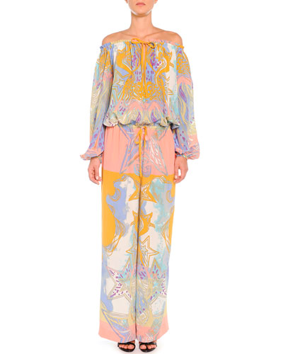 Emilio Pucci Off-the-Shoulder Wings and Stars Jumpsuit