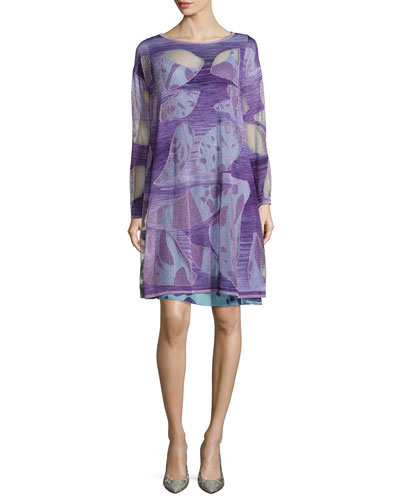 Abstract Intarsia Knit Tunic Dress, Purple
