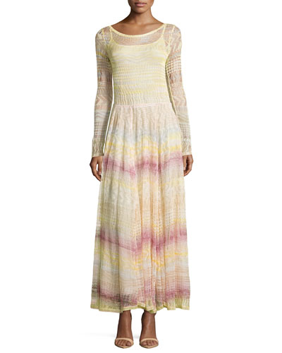 Scoop-Neck Zigzag-Knit Long Dress, Pink Multi