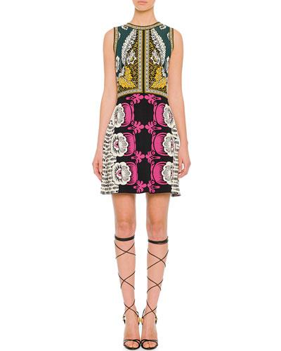 Valentino Mixed-Print Sleeveless Dress