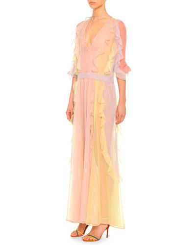 Valentino 3/4-Sleeve Ruffled Silk Chiffon Dress