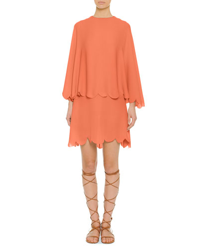 Valentino Scalloped Tiered Capelet Dress, Coral