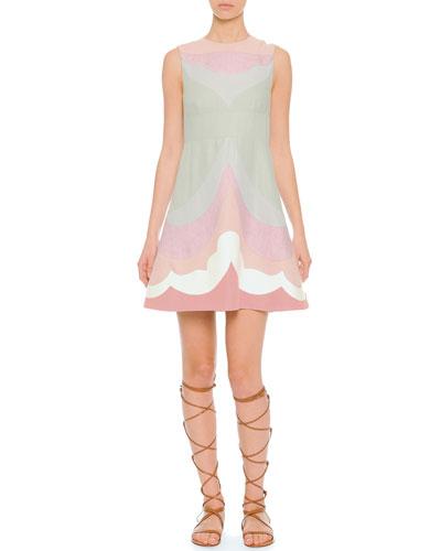 Valentino Sleeveless Multicolor Linen Dress