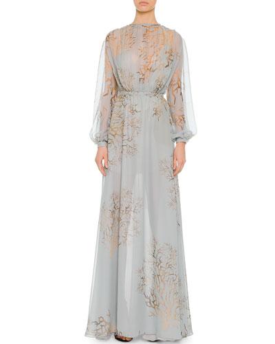 Valentino Open-Back Coral-Print Silk Chiffon Gown