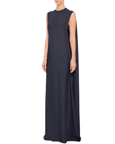 Valentino Cape-Back Empire Waist Gown, Navy
