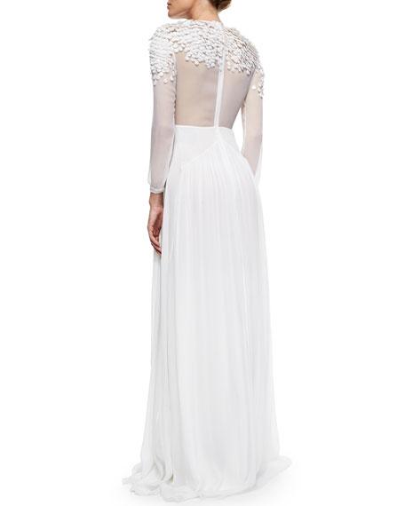 Sequined Sheer Inset Dress White
